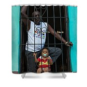 Man And Son In The Window Shower Curtain