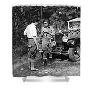 Man And Woman In Fishing Gear Shower Curtain