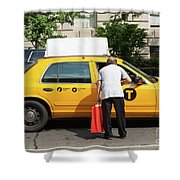 Man Asks For Information A Taxi Driver In Manhattan. Shower Curtain