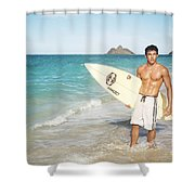 Man At The Beach With Surfboard Shower Curtain by Brandon Tabiolo - Printscapes