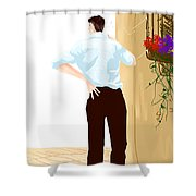 Man At The End Of The Corridor Shower Curtain