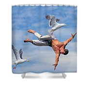Man Being Carried By Bird Shower Curtain