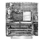 Man Drawing A Lute 1523 Shower Curtain