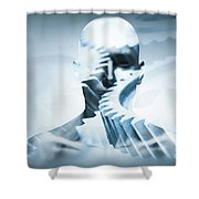 Man Face With Mechanical Cogwheel Overlay. Shower Curtain