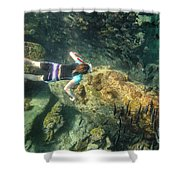 Man Free Diving Shower Curtain