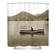 Man In A Row Boat Named Lizzie On Palmer Lake On The Colorado Di Shower Curtain