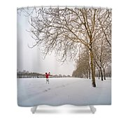 Man In Red Taking Picture Of Snowy Field And Trees Shower Curtain