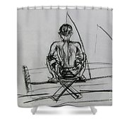 Man In The Fishing Game Shower Curtain