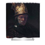 Man In The Golden Helmet Shower Curtain