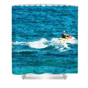 Man Jet Skiing Shower Curtain