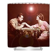 Man Kissing Womans Hand Romantic Couple Shower Curtain