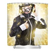 Man Listening To Fm Radio Broadcast With Headphone Shower Curtain