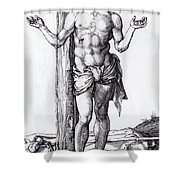 Man Of Sorrows With Hands Raised 1500 Shower Curtain