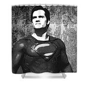 Man Of Steel Monochrome Shower Curtain