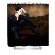 Man On A Bench Shower Curtain