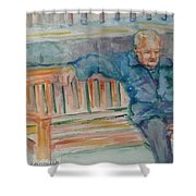 Man On Bench Shower Curtain