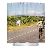 Man On Bicycle In Zambia Shower Curtain