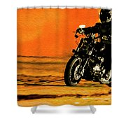 Man On Bike Shower Curtain