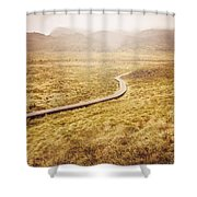 Man On Expedition Along Cradle Mountain Boardwalk Shower Curtain
