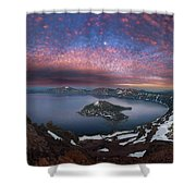 Man On Hilltop Viewing Crater Lake With Full Moon Shower Curtain