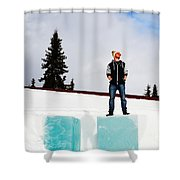 Man On Ice Shower Curtain