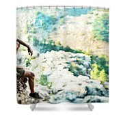 Man On Top Of The World Shower Curtain