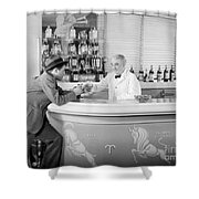 Man Ordering Another Drink, C. 1940s Shower Curtain