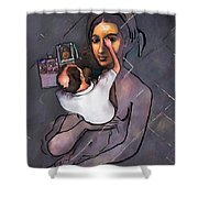 Man Painting Woman Shower Curtain