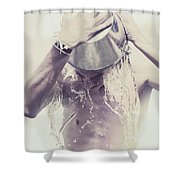 Man Pouring Cold Water From Wine Cooler Over Body Shower Curtain by Jorgo Photography - Wall Art Gallery