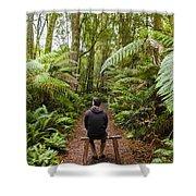Man Relaxing In Strahan Rainforest Retreat Shower Curtain