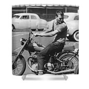 Man Riding A Motorcycle Shower Curtain
