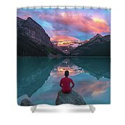 Man Sit On Rock Watching Lake Louise Morning Clouds With Reflect Shower Curtain