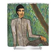 Man Sitting Under Willow Tree Shower Curtain