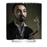 Man Smoking A Cigar Shower Curtain