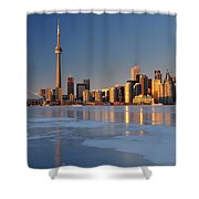 Man Standing On Frozen Lake Ontario Ice Looking At Toronto City  Shower Curtain