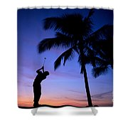 Man Swinging Driver Shower Curtain