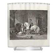 Man Te Paard In Een Stal Shower Curtain