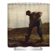 Man Turning Over The Soil Shower Curtain