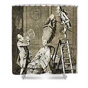 Man Using Sextant On Womans Coiffure Shower Curtain