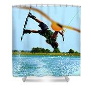 Man Wakeboarding Shower Curtain by Fernando Cruz