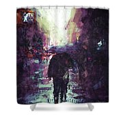 Man Walking Under Umbrella Shower Curtain