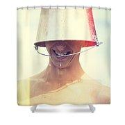 Man Wearing Water Bucket On Head In Summer Heat Shower Curtain by Jorgo Photography - Wall Art Gallery