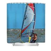 Man Wind Surfing Shower Curtain