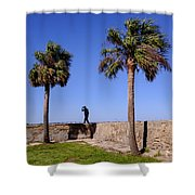 Man With A Hat On The Wall With Palm Trees In Saint Augustine Fl Shower Curtain