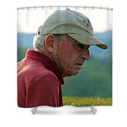 Man With American Flag On Cap Shower Curtain