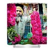 Man With Flowers Near The Temple Kerala Yatra 2016 Yantra Shower Curtain by Raimond Klavins