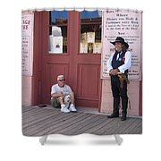 Man With His Dog Re-enactor Birdcage Theater Tombstone Arizona 2004 Shower Curtain