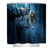 Man With Keys At Door Shower Curtain