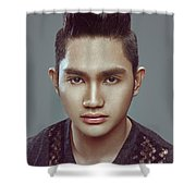 Man With Modern Bun Hairstyle In Black Shirt Shower Curtain