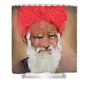 Man With Red Headwrap Shower Curtain
